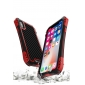 For iPhoneX XR XS XS Max Shockproof Hybrid Armor Aluminum Metal Carbon Fiber Case Cover - Black Red