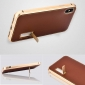 Aluminum Metal Bumper Genuine Leather Case Cover For iPhone XS Max - Gold&Brown