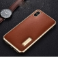 Aluminum Metal Bumper Genuine Leather Case Cover For iPhone XS Max - Gold&Red