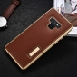 Luxury Genuine Leather+Aluminum Back Case Cover For Samsung Galaxy Note 9 - Gold&Brown