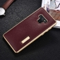 Luxury Genuine Leather+Aluminum Back Case Cover For Samsung Galaxy Note 9 - Gold&Wine Red