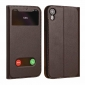 View Window Genuine Leather Stand Flip Case For iPhone XR - Brown