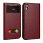 View Window Genuine Leather Stand Flip Case For iPhone XR - Wine Red