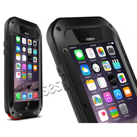 wholesale Aluminum Gorilla Glass Metal Waterproof Shockproof Cover Case for iPhone 6/6S 4.7 inch - Black