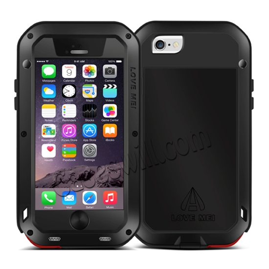 cheap Aluminum Gorilla Glass Metal Waterproof Shockproof Cover Case for iPhone 6/6S 4.7 inch - Black