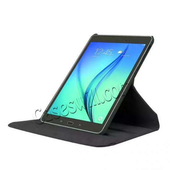 discount 360 Degree Rotating Stand Litchi Leather Cover Case for Samsung Galaxy Tab S2 9.7 T815 - Black