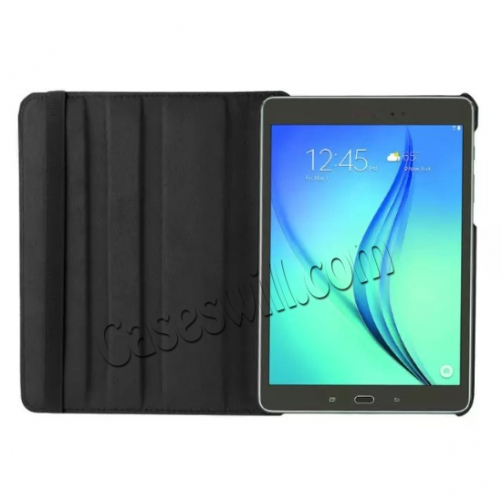 best price 360 Degree Rotating Stand Litchi Leather Cover Case for Samsung Galaxy Tab S2 9.7 T815 - Black