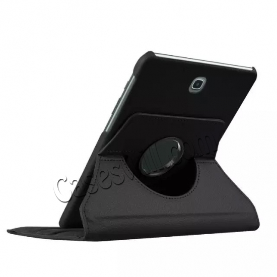 top quality 360 Degree Rotating Stand Litchi Leather Cover Case for Samsung Galaxy Tab S2 9.7 T815 - Black