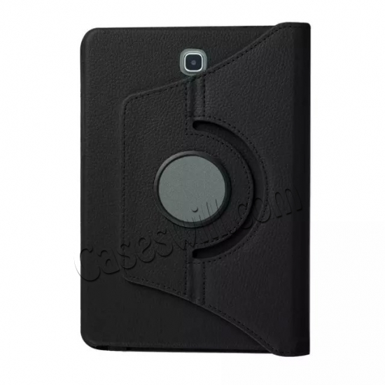 on sale 360 Degree Rotating Stand Litchi Leather Cover Case for Samsung Galaxy Tab S2 9.7 T815 - Black