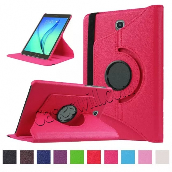wholesale 360 Degree Rotating Stand Litchi Leather Cover Case for Samsung Galaxy Tab S2 9.7 T815 - Hot pink