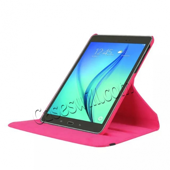 top quality 360 Degree Rotating Stand Litchi Leather Cover Case for Samsung Galaxy Tab S2 9.7 T815 - Hot pink
