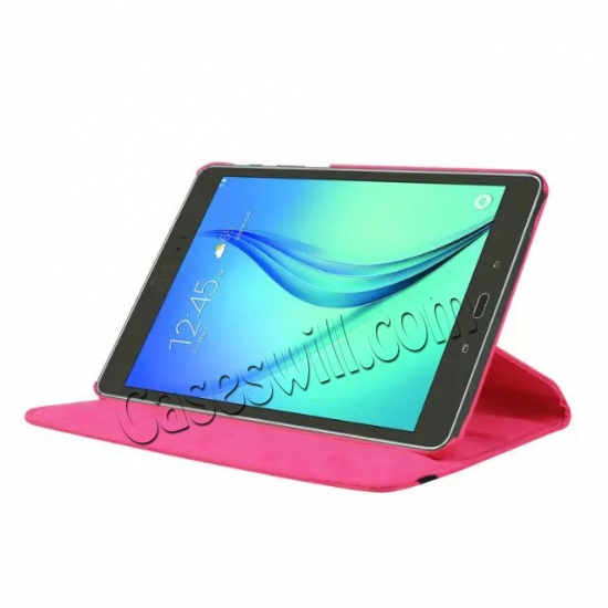 discount 360 Degree Rotating Stand Litchi Leather Cover Case for Samsung Galaxy Tab S2 9.7 T815 - Hot pink