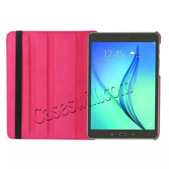 on sale 360 Degree Rotating Stand Litchi Leather Cover Case for Samsung Galaxy Tab S2 9.7 T815 - Hot pink