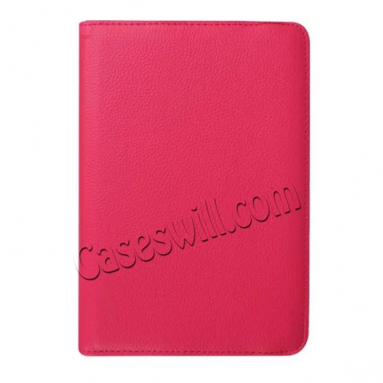 low price 360 Degree Rotating Stand Litchi Leather Cover Case for Samsung Galaxy Tab S2 9.7 T815 - Hot pink