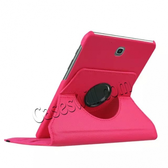 best price 360 Degree Rotating Stand Litchi Leather Cover Case for Samsung Galaxy Tab S2 9.7 T815 - Hot pink