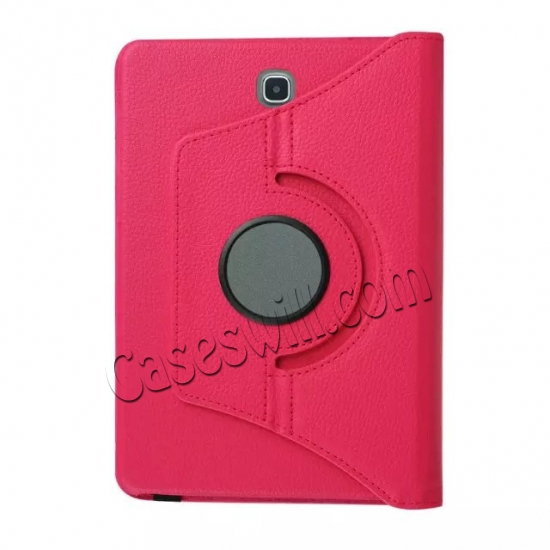 high quanlity 360 Degree Rotating Stand Litchi Leather Cover Case for Samsung Galaxy Tab S2 9.7 T815 - Hot pink