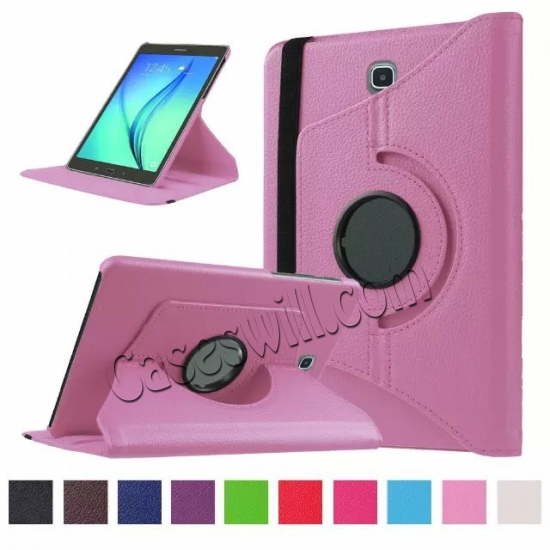 wholesale 360 Degree Rotating Stand Litchi Leather Cover Case for Samsung Galaxy Tab S2 9.7 T815 - Pink