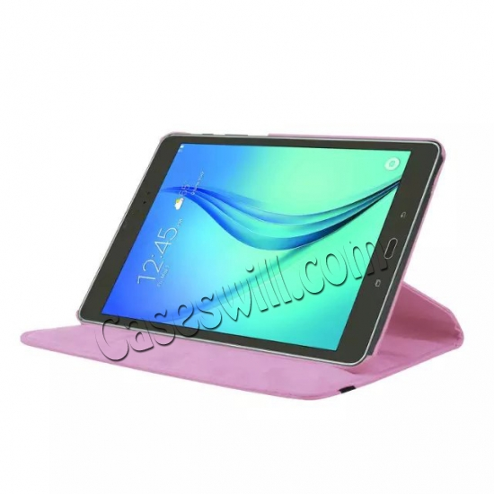 discount 360 Degree Rotating Stand Litchi Leather Cover Case for Samsung Galaxy Tab S2 9.7 T815 - Pink