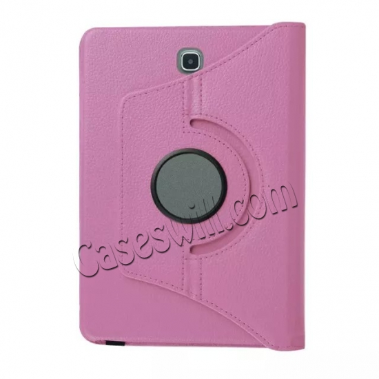low price 360 Degree Rotating Stand Litchi Leather Cover Case for Samsung Galaxy Tab S2 9.7 T815 - Pink