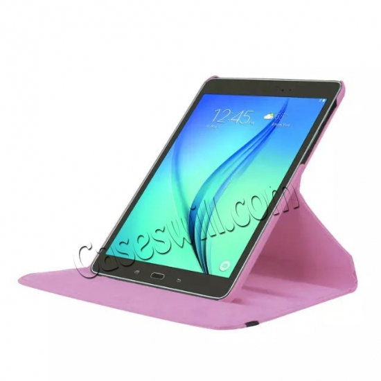 top quality 360 Degree Rotating Stand Litchi Leather Cover Case for Samsung Galaxy Tab S2 9.7 T815 - Pink