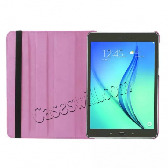 on sale 360 Degree Rotating Stand Litchi Leather Cover Case for Samsung Galaxy Tab S2 9.7 T815 - Pink