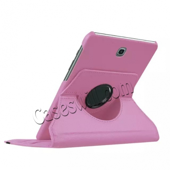 best price 360 Degree Rotating Stand Litchi Leather Cover Case for Samsung Galaxy Tab S2 9.7 T815 - Pink