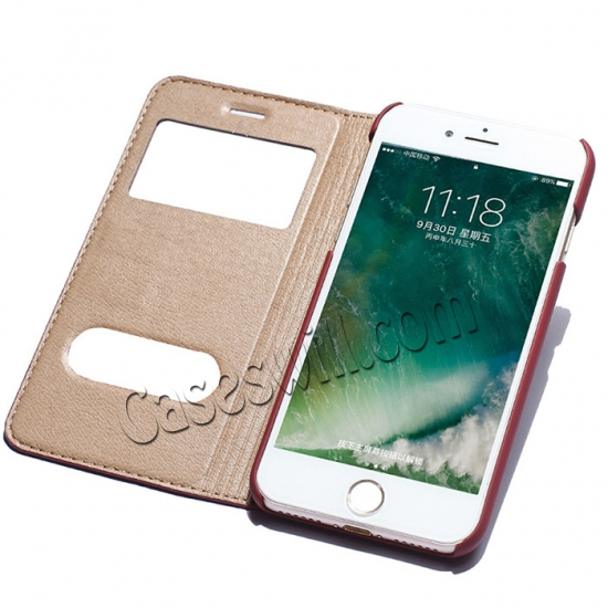 cheap Double View Window Side Flip Stand PC+Genuine Leather Case for iPhone 7 - Red