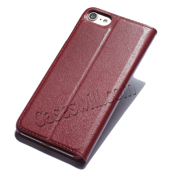 discount Double View Window Side Flip Stand PC+Genuine Leather Case for iPhone 7 - Red