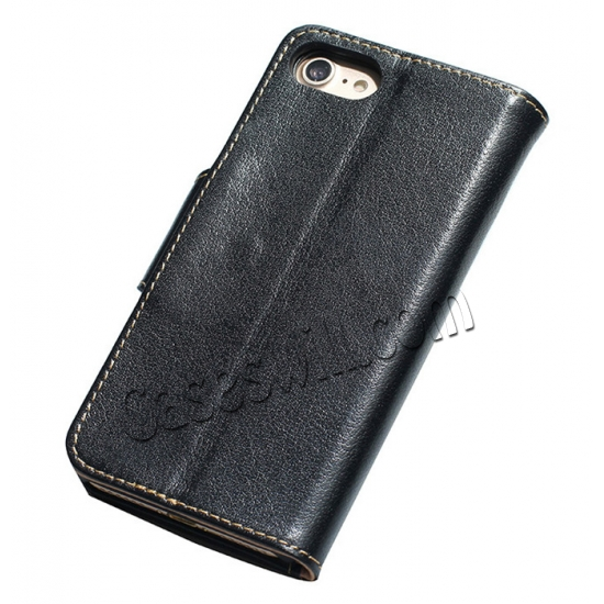 discount Genuine Luxury Cowhide Leather Flip Case Cover for iPhone 7 - Black