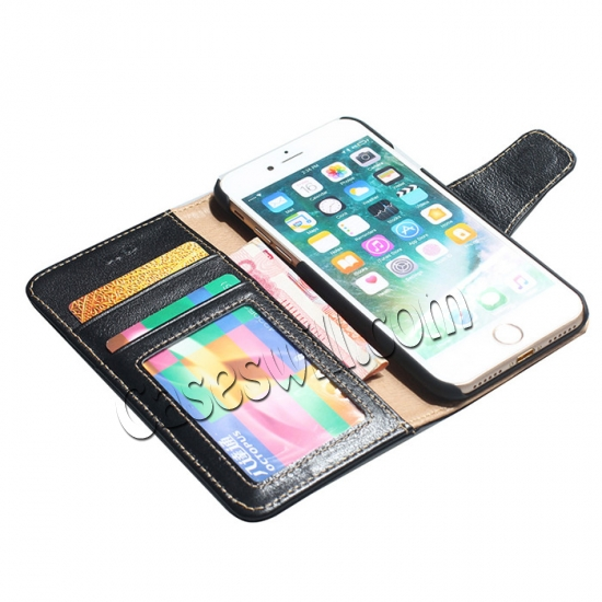 on sale Genuine Luxury Cowhide Leather Flip Case Cover for iPhone 7 - Black