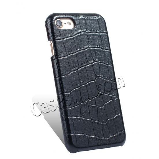 cheap Crocodile Real Leather Back Cover Protective Case for iPhone 7 - Black
