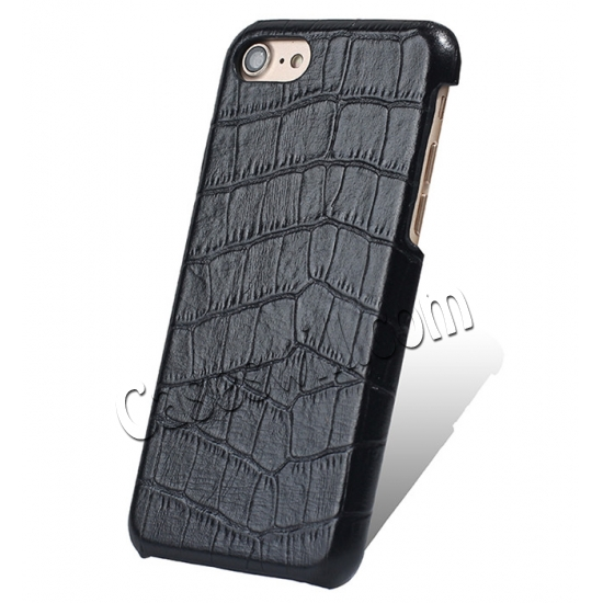 wholesale Crocodile Real Leather Back Cover Protective Case for iPhone 7 - Black