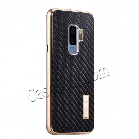 wholesale Aluminum Bumper Carbon Fiber Case With Stand For Samsung Galaxy S9 Plus - Gold&Black