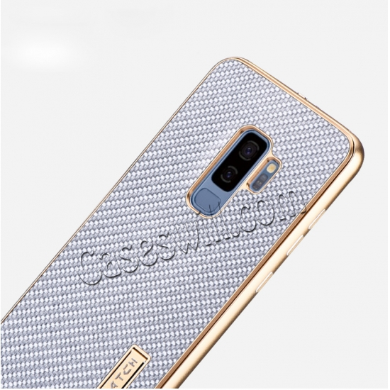cheap Aluminum Bumper Carbon Fiber Case With Stand For Samsung Galaxy S9 Plus - Gold&Black