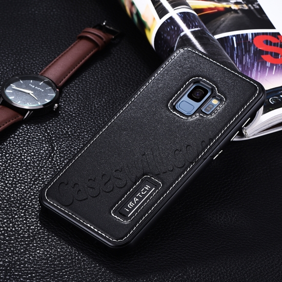 discount Deluxe Aluminum Metal and Genuine Leather Back Case For Samsung Galaxy S9 Plus - Black