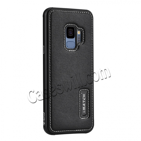 wholesale Deluxe Aluminum Metal and Genuine Leather Back Case For Samsung Galaxy S9 Plus - Black