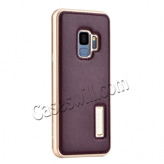 wholesale Deluxe Aluminum Metal and Genuine Leather Back Case For Samsung Galaxy S9 Plus - Gold&Wine Red