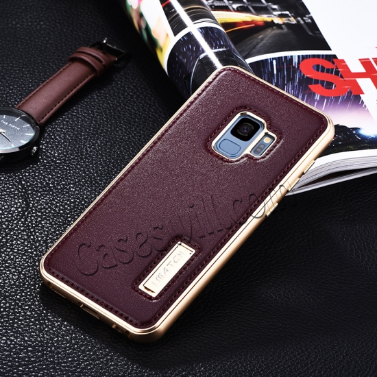 discount Deluxe Aluminum Metal and Genuine Leather Back Case For Samsung Galaxy S9 Plus - Gold&Wine Red